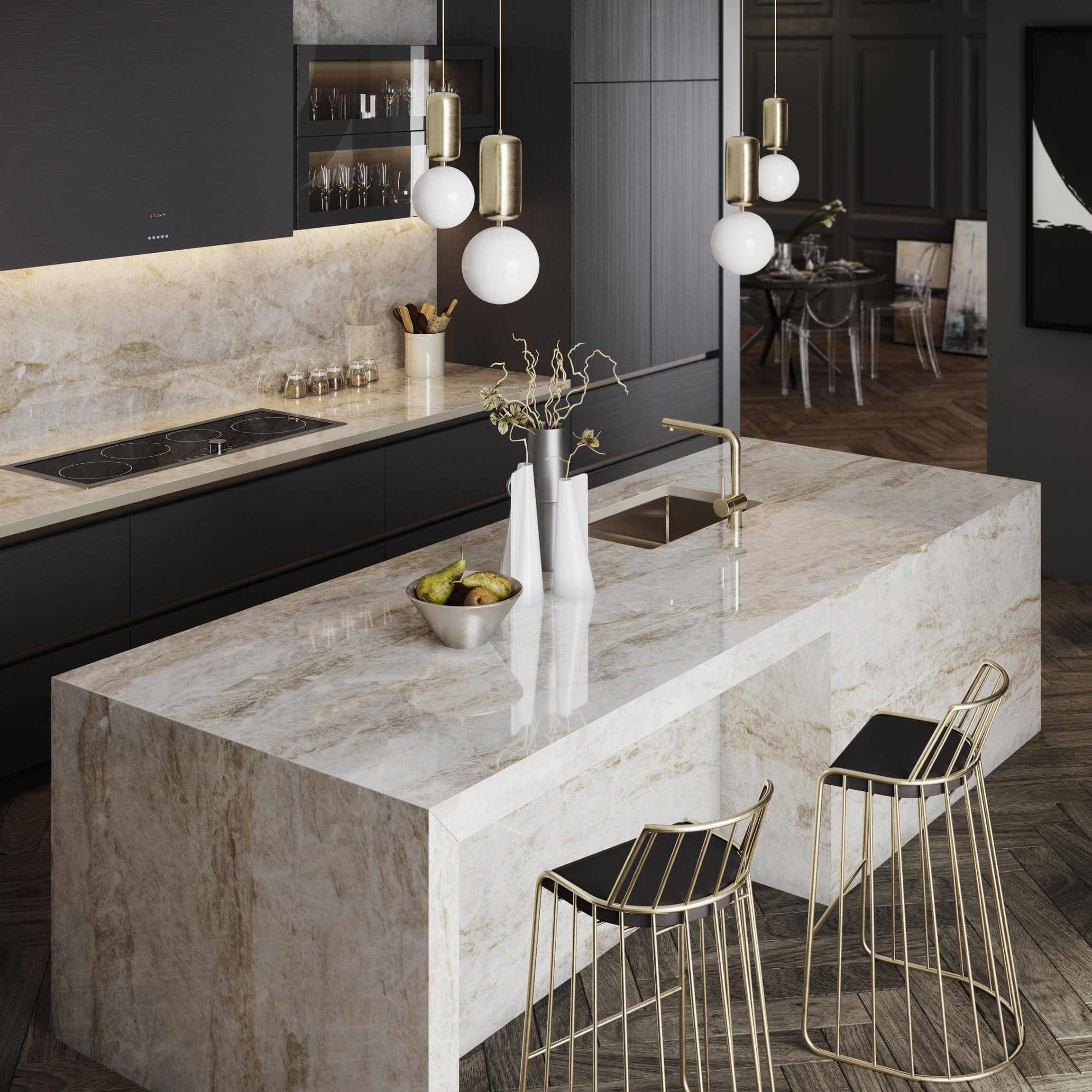 Marble effect kitchen surfaces