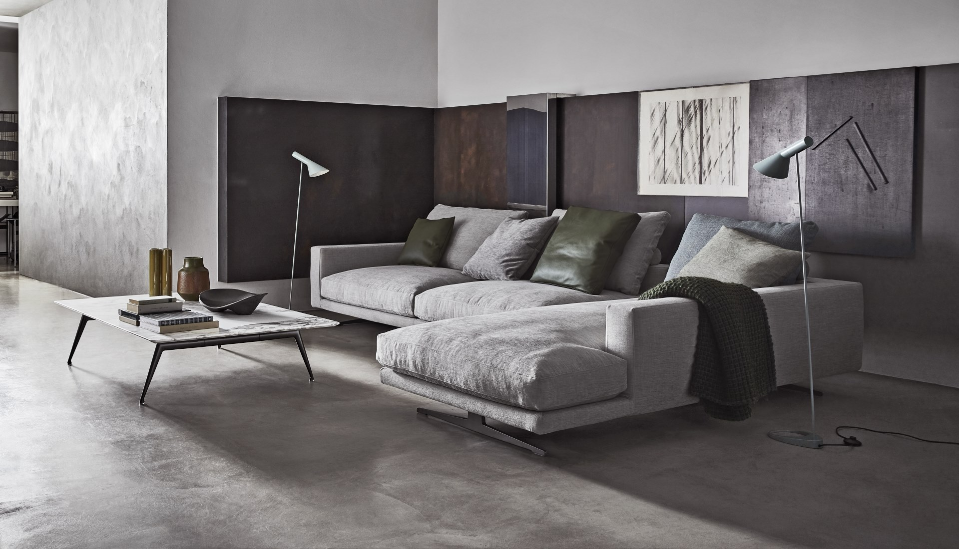 Luxurious and stylish living rooms featuring the Flexform Campiello modular sofa