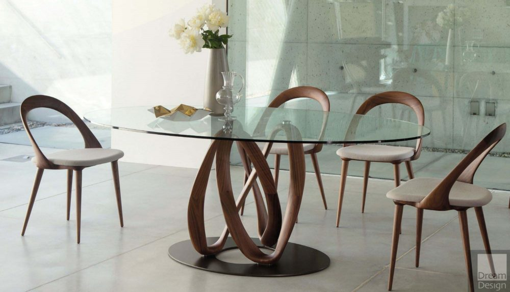 Porada Infinity Elliptic Glass Table