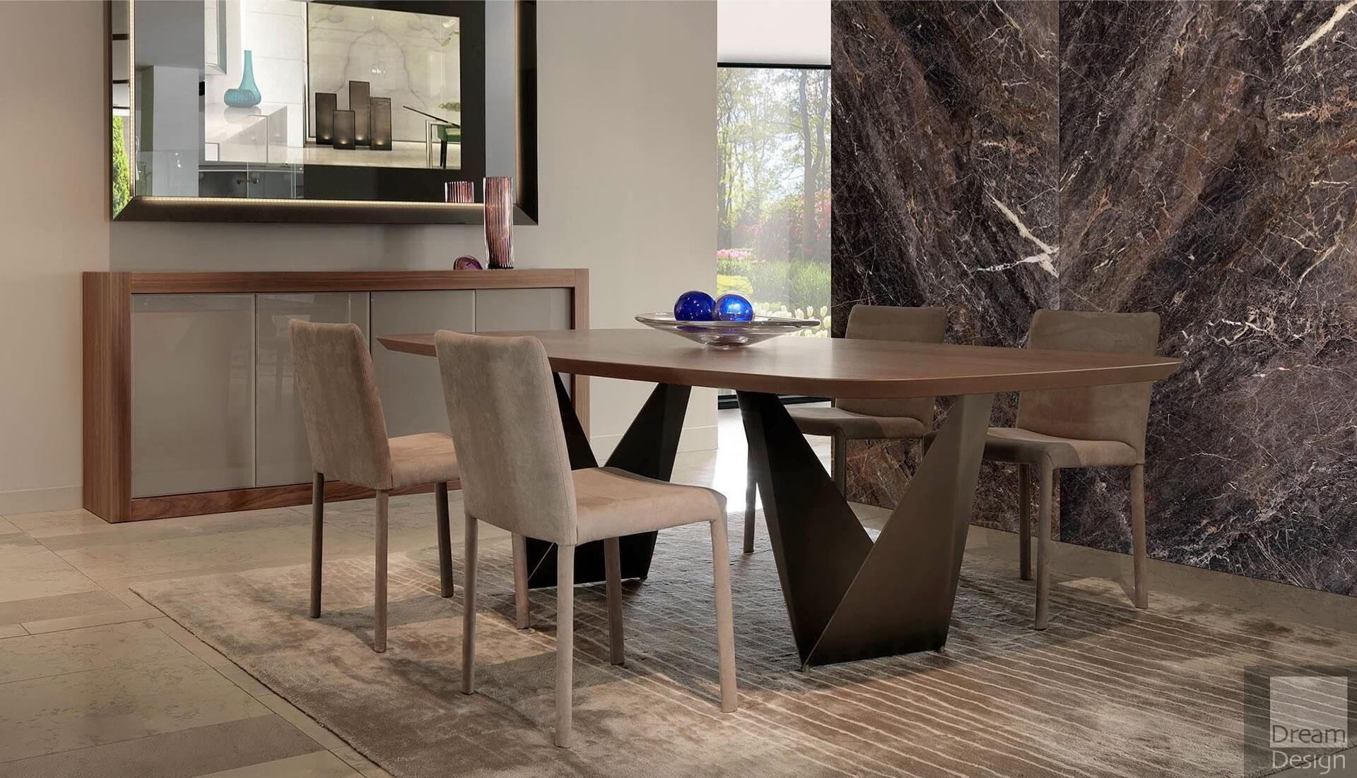 Reflex Angelo Prisma Steel 72 Bevel Wood Table
