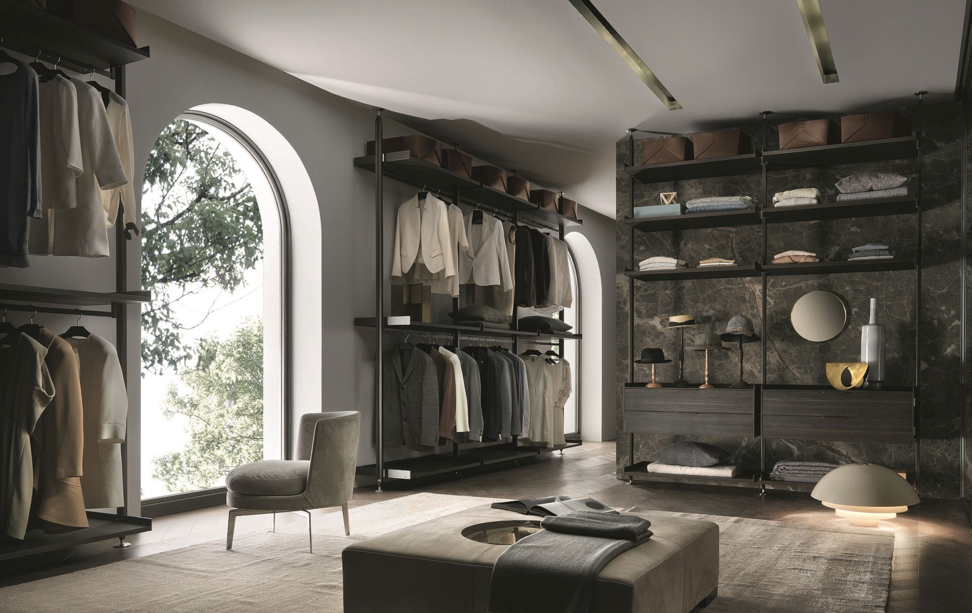 Walk-in wardrobe. Rimadesio Zenit system furniture. Available at Dream Design Interiors